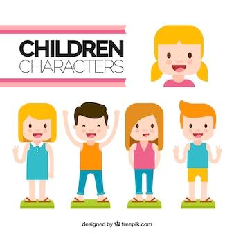 Sortiment von vier fröhlichen Kindern in flachem Design