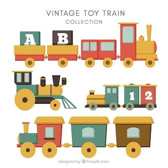 Sortiment von Vintage-Spielzeug-Züge