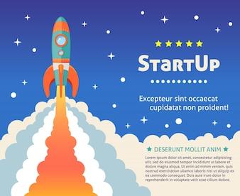 Space Rakete Schiff starten Karikatur futuristischen Hintergrund mit Sternen auf Hintergrund Vektor-Illustration
