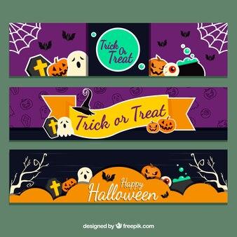 Spaß Halloween Banner mit bunten Stil
