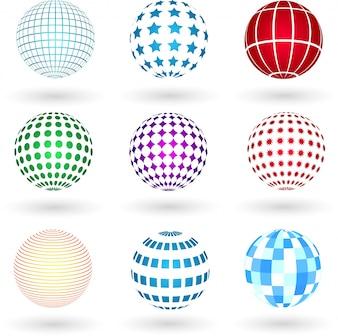 Sphären mit verschiedenen Designs