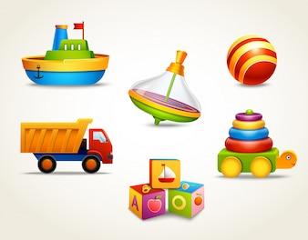 Spielzeug-Icons gesetzt