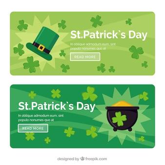 St. Patricks Day Banner mit Kleeblättern