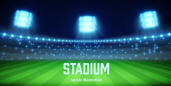 Stadion mit Lichter und Tribünen eps 10