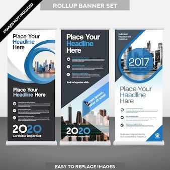 Stadt Hintergrund Business Roll Up ม Flag Banner Design Vorlage Set.