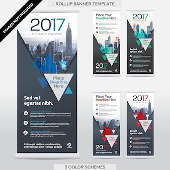 Stadt-Hintergrund-Geschäft rollen oben. Fahne Banner Design-Vorlagen-Set.