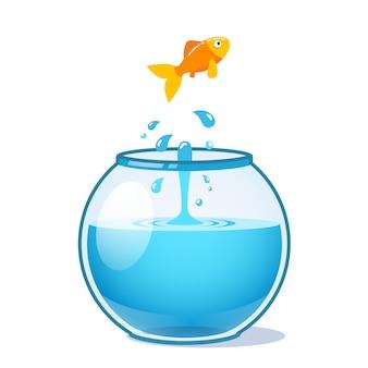 Starker Goldfisch springt aus Fischschüssel
