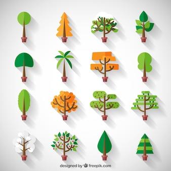 Stilisiert niedliche Baum Sammlung