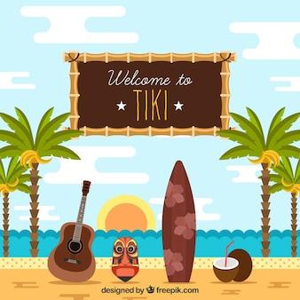 Strand Hintergrund mit Palmen und Tiki Maske