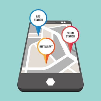 Straßenkarte mit buntem Pin-Pointer zu wichtigen öffentlichen Bereich