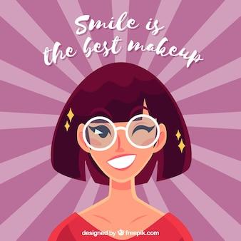 Sunburst Hintergrund mit lächelnden Frau