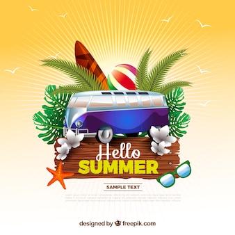 Sunburst Hintergrund mit Sommer-Elemente in realistischen Design