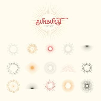 Sunburst Vektor-Design-Set