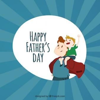 Super-Papa mit seinem Sohn Karte