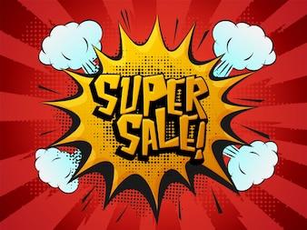 Super Sale Banner, Popart Explosion, Brust Effekt.