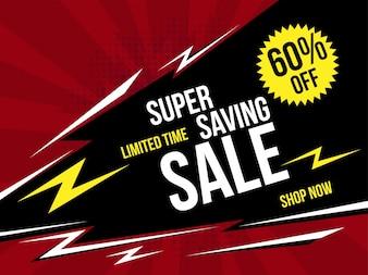 Super Saving Sale Banner mit Retro Style.