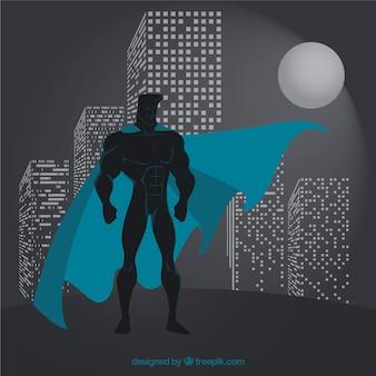 Superhero wacht über Stadt