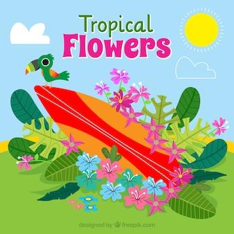 Surfboard Hintergrund mit Hand gezeichneten Blumen