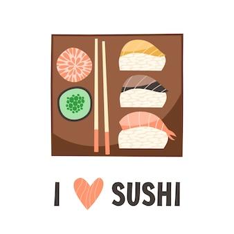 Sushi. Japanisches Essen Sushi Rollen Vektor-Illustration.
