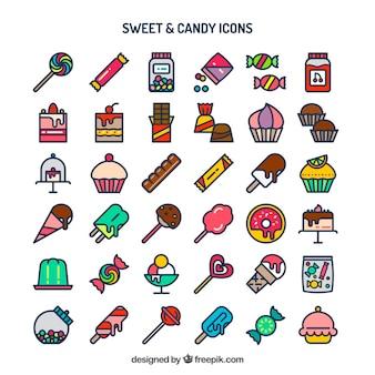Süß und Süßigkeiten Icon-Sammlung