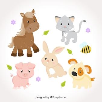 Süße Sammlung von Babytieren