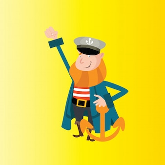 Süsser alter Mann bärtiger Seemann Matrose Seemann Marine Anker Cartoon Charakter