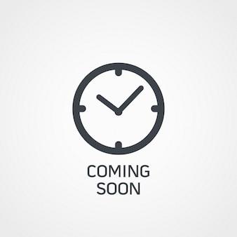 Symbol Uhr mit bald Text kommen