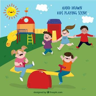 Szene von Kinder spielen auf einem Spielplatz