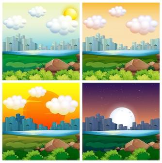 Szenen mit Gebäuden in der Stadt