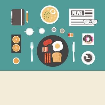 Tabelle mit Lebensmitteln Design