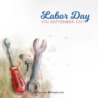 Tag Arbeit Hintergrund in USA mit Aquarell-Tools