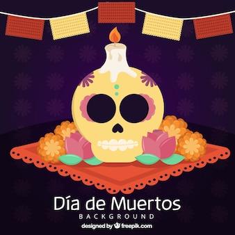 Tag der toten Feier Hintergrund der Schädel und Kerze