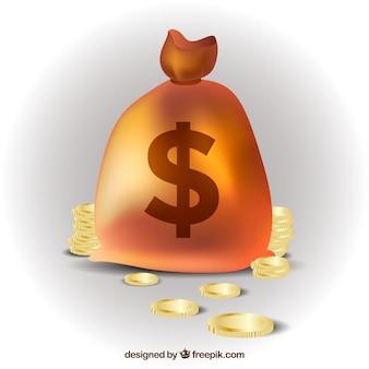 Tasche Hintergrund mit glänzenden Münzen