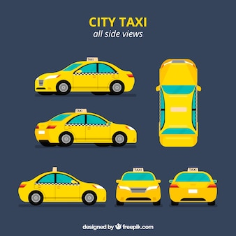 Taxi in sechs verschiedenen Ansichten