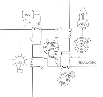 Teamwork Konzept linear