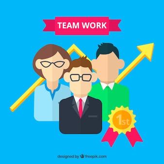 Teamwork-Konzept mit flachen Zeichen