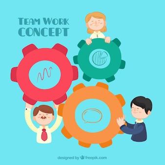 Teamwork-Konzept mit handgezeichneten Stil