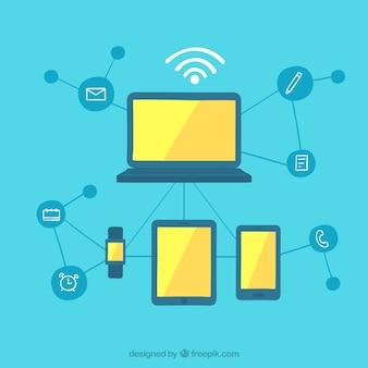 Technologie Hintergrund der Gadgets mit WiFi in flachen Design
