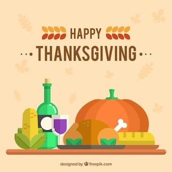 Thanksgiving-Abendessen Hintergrund im flachen Design