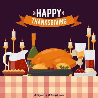 Thanksgiving-Abendessen Hintergrund mit Kerzen