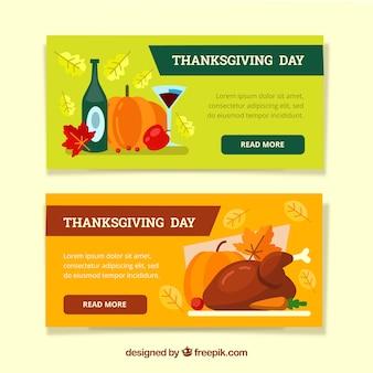 Thanksgiving-Banner mit bunten Stil