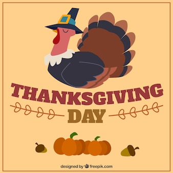 Thanksgiving-Design mit Truthahn und Kürbissen