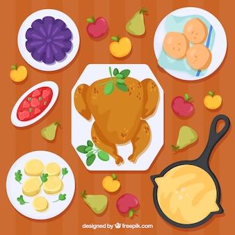 Thanksgiving-Dinner mit leckeren Puten und anderen Gerichten