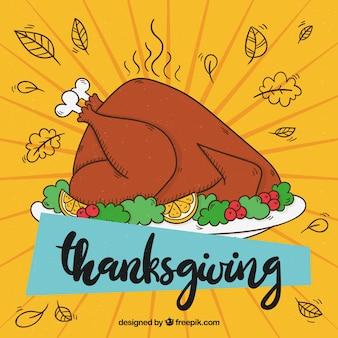 Thanksgiving Hintergrund mit köstlichen Hand gezeichneten Türkei