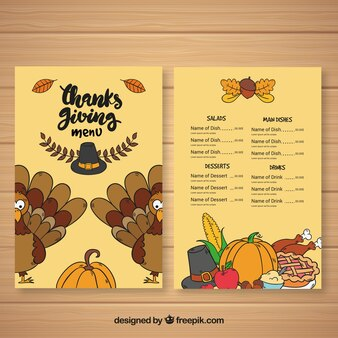 Thanksgiving-Retro-Menü