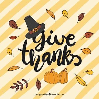 Thanksgiving-Schriftzug Design mit Blättern