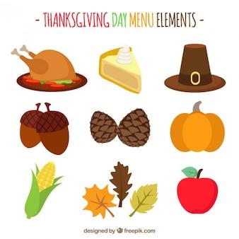 Thanksgiving-Wohnung Icons Set