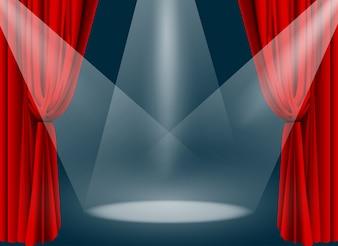 Theater Bühne mit rotem Vorhang und Rampenlicht