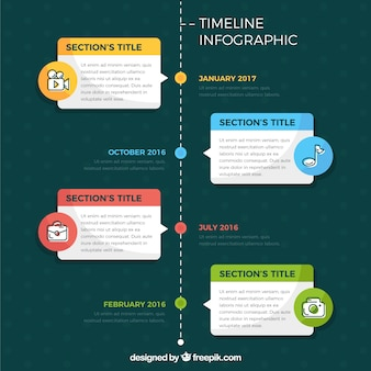 Timeline-Infografik mit vier Schritten in flacher Bauform