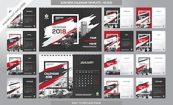 Tischkalender 2018 Vorlage - 12 Monate enthalten - A5 Größe - Art Pinsel Thema